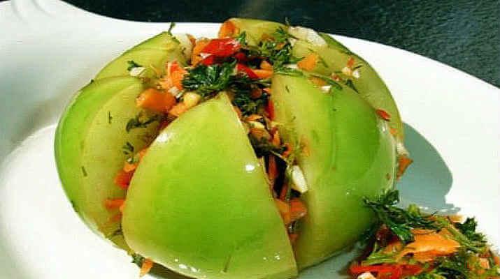 Рецепт зеленых помидор с чесноком рецепт
