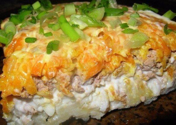 Салат из печени слоями с картошкой