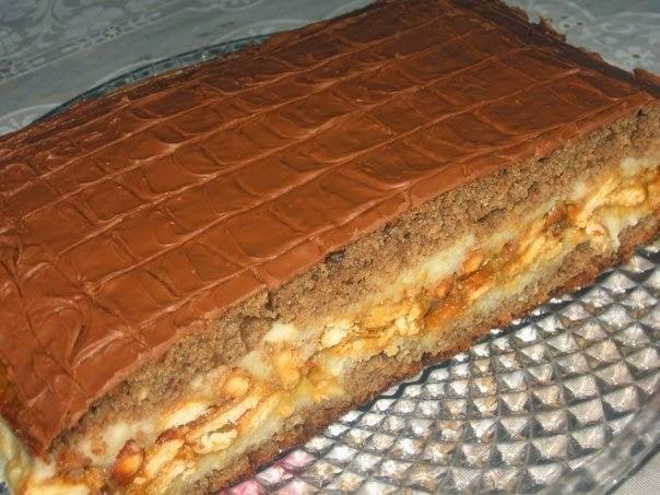 Пирог сникерс рецепт с фото пошагово